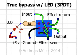true bypass wiring schemes stinkfoot se rh stinkfoot se 3pdt switch wiring diagram 3PDT Wiring Without' LED